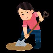 埋蔵金を探す人のイラスト(女性)