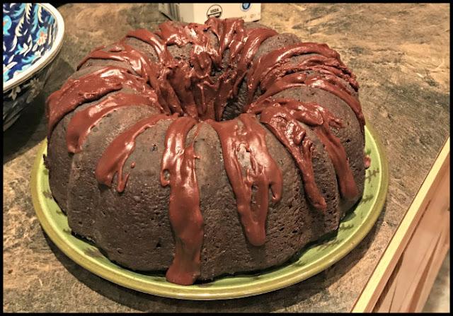 Chocolate Chip Bundt cake with a quick chocolate glaze