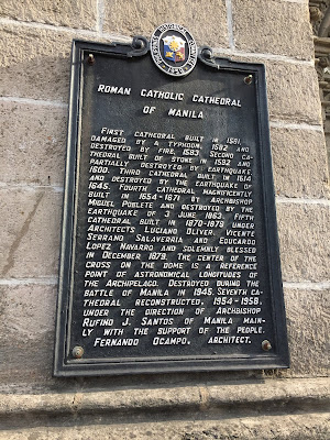 Photo showing the text displayed outside the Roman Catholic Cathedral in Intramuros