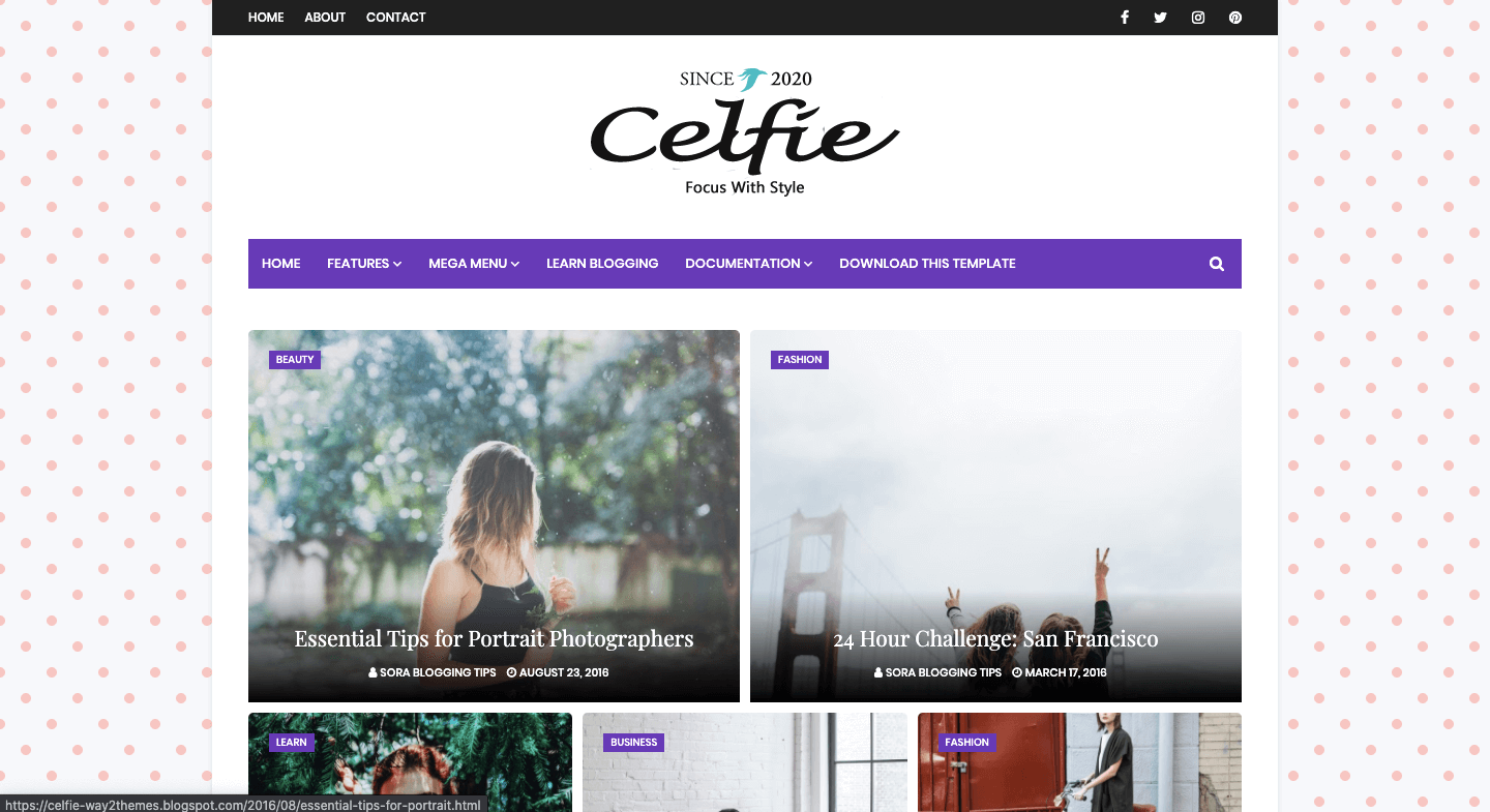Download Celfie - Free Responsive Blogger Template