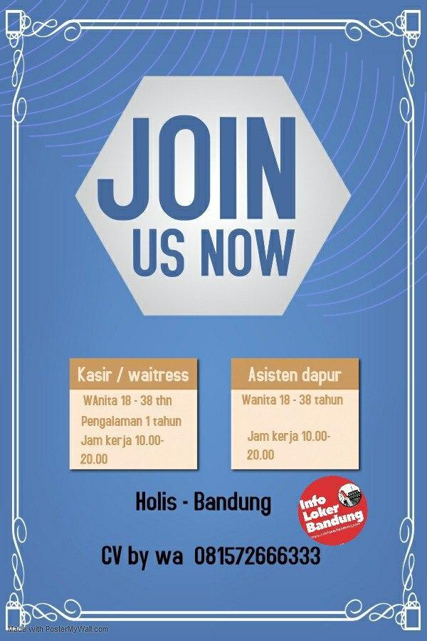 Lowongan Kerja Kasir / Waitress & Asisten Dapur Restoran Holis Bandung Mei 2020