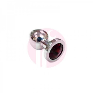 Rouge Stainless Steel Anal Butt Plug Small Coloured Crystal Red