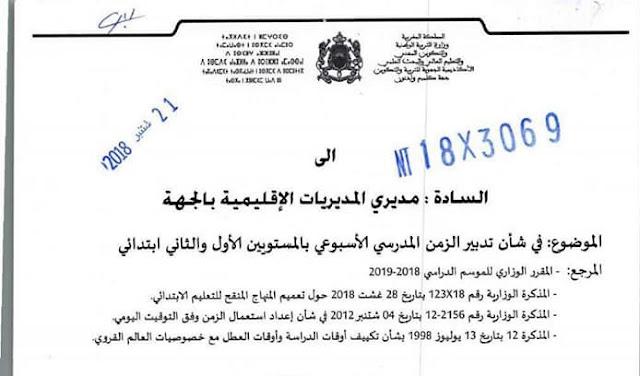 المذكرة الجهوية لجهة كلميم وادنون 3069×18: في شأن تدبير الزمن المدرسي الأسبوعي بالمستويين الأول والثاني ابتدائي