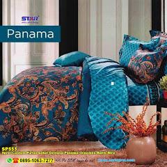 Sprei Custom Katun Lokal Dewasa Panama Ornamen Batik Biru