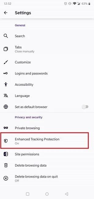 كيفية تمكين ملفات تعريف الارتباط متصفح Android أمان خصوصية Firefox