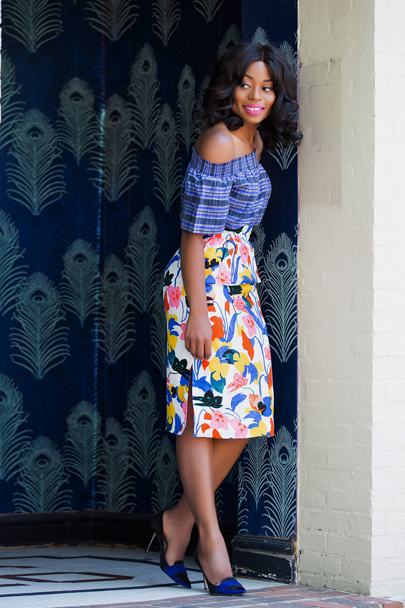 jcrew floral skirt, off shoulder top, www.jadore-fashion.com