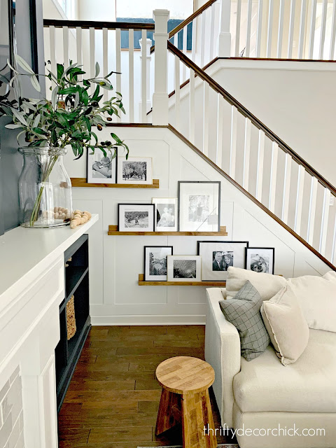 White board and batten on stair wall