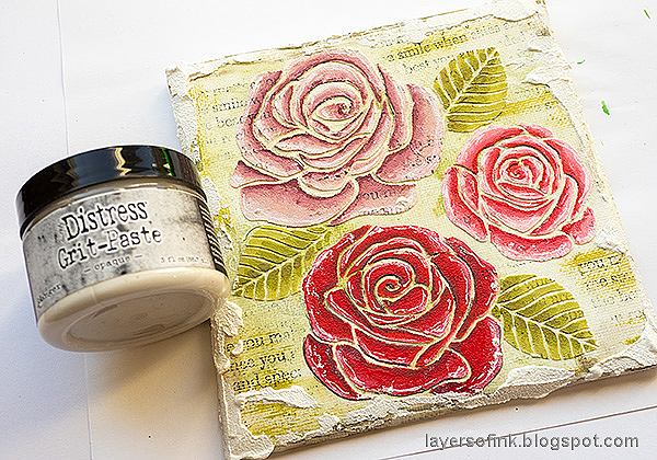 Layers of ink - Mixed Media Rose Canvas Tutorial by Anna-Karin Evaldsson. Add grit-paste.