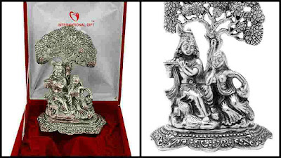 Silver Radha Krishna Statue Murti