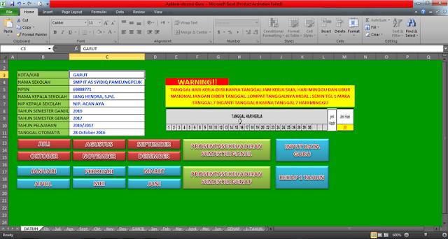 Aplikasi Absensi Guru di Sekolah Format Excel