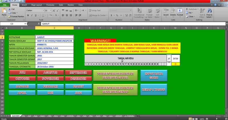 Aplikasi Absensi Guru Di Sekolah Format Excel File Sekolah