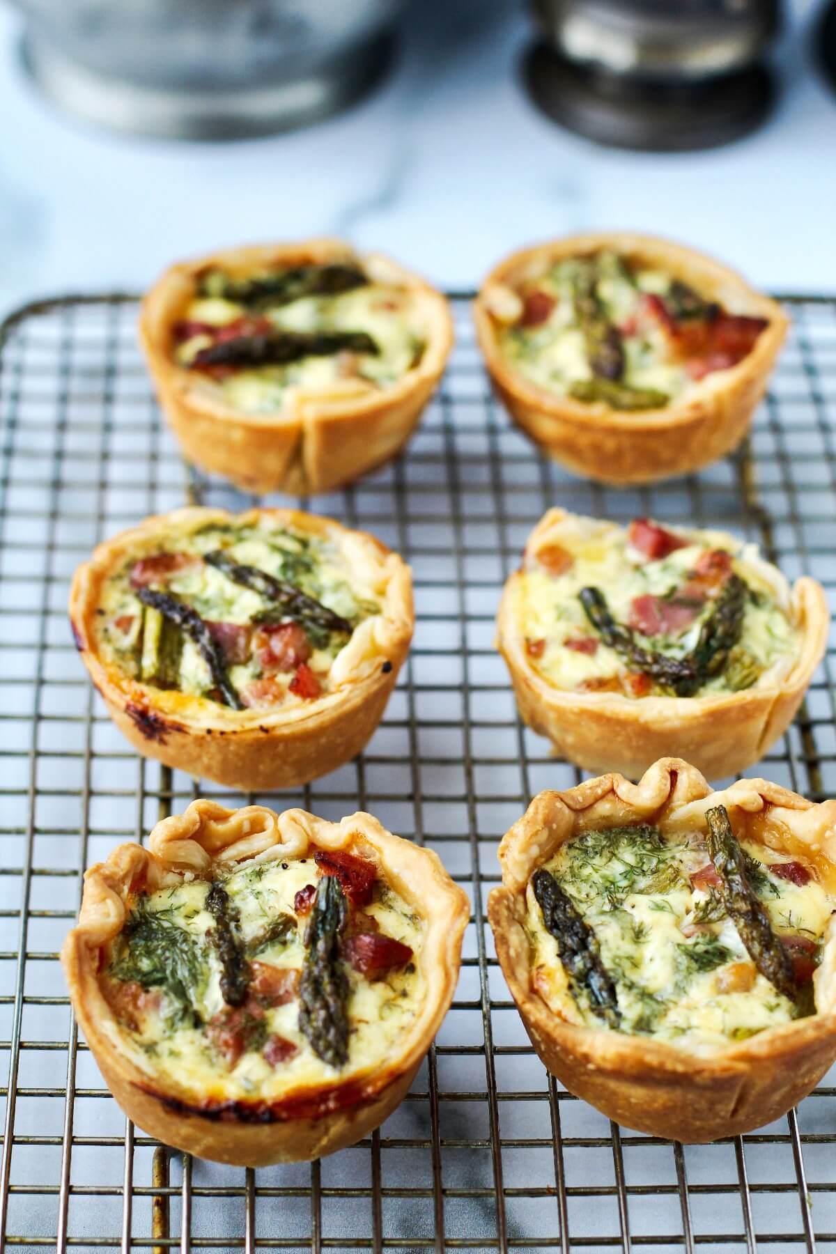Pancetta and asparagus tarts