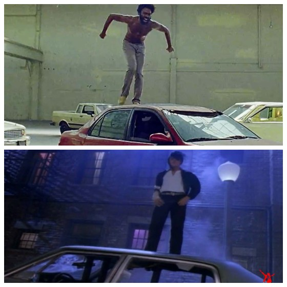 The scene with Childish Gambino dancing on top of the car actually has multiple interpretations. A curious link goes back decades to when another popular music icon (and someone Childish Gambino adores) did the same at the end of one of his music videos. Deemed violent, that dance routine was removed from the song when it aired on television.  The singer? Michael Jackson.  The song - Black or White (There are no coincidences...)