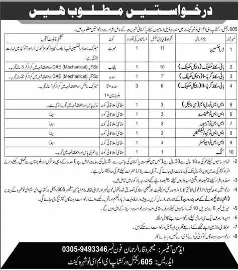 Pak Army Jobs 2021 - 605 Regional Workshop EME Nowshera Cantt Jobs 2021 - Join Pak Army - Latest Govt Jobs 2021