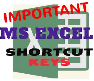important excel shortcut keys