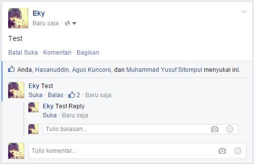 Tombol Reply pada Komentar Facebook