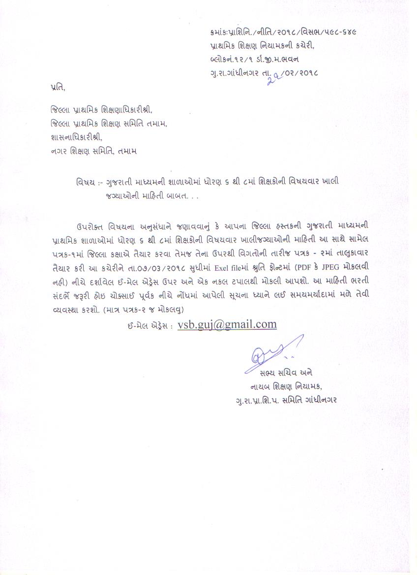 6 To 8 In Gujarati Medium Schools. Letter Of The Date 21/2/2018.