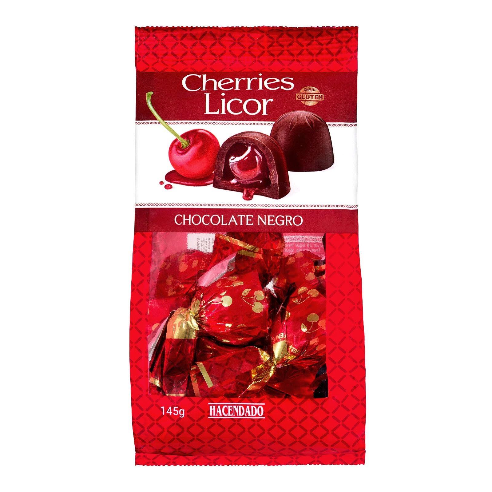 Bombones de chocolate negro extrafino rellenos Cherries Licor Hacendado