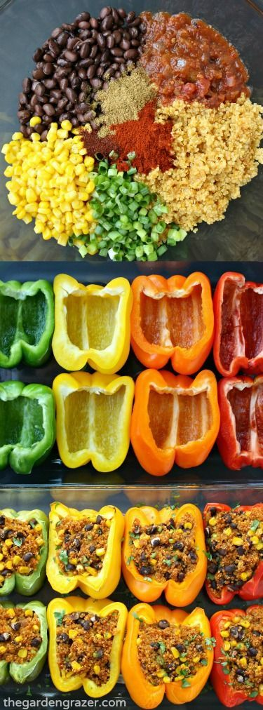 Fun and colorful Mexican Quinoa Stuffed Peppers! Easy fiesta-flavored quinoa with black beans and corn is stuffed into these pretty pepper packages for an awesome healthy meal! (Vegan, gluten-free) 4 reviews