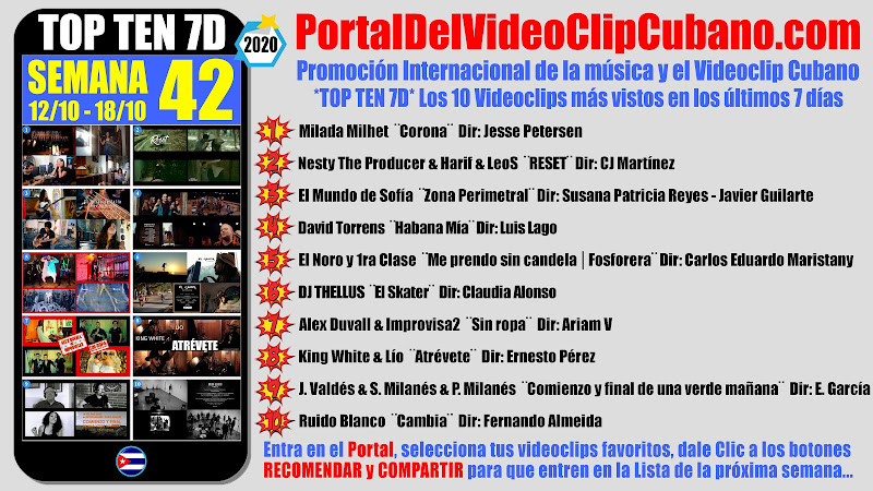 Artistas ganadores del * TOP TEN 7D * con los 10 Videoclips más vistos en la semana 42 (12/10 a 18/10 de 2020) en el Portal Del Vídeo Clip Cubano