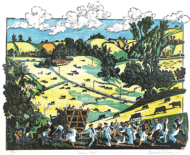 Alexander Hollweg 1976 art print, a procession of happy dancing farm people