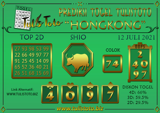 Prediksi Togel HONGKONG TULISTOTO 12 JULI 2021
