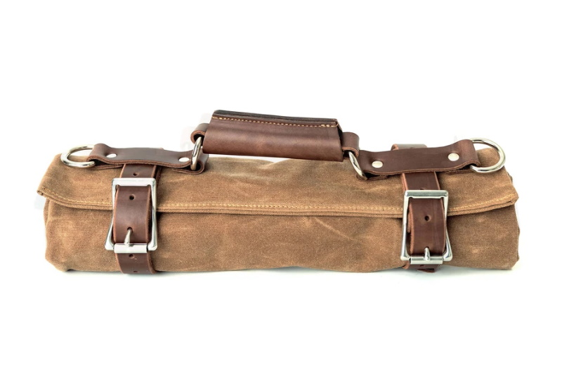 Leather Canvas Tool Roll with Tools