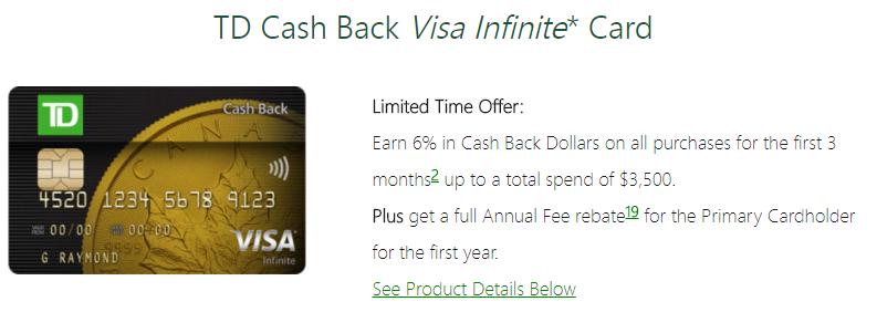 Td Visa Infinite >> Canadian Rewards Td Cash Back Visa Infinite 6 Cash Back Fyf