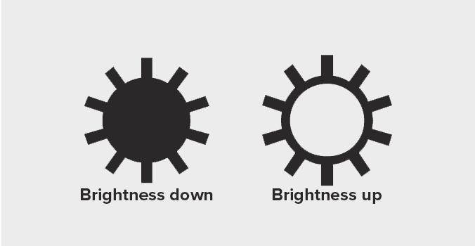 Icon brightness di keyboard