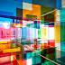 Paneles geométricos de luz y color por Luftwerk