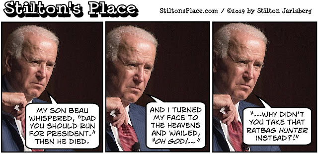 stilton's place, stilton, political, humor, conservative, cartoons, jokes, hope n' change, joe biden, hunter biden, corruption, sex, DNA test, baby, quid pro quo