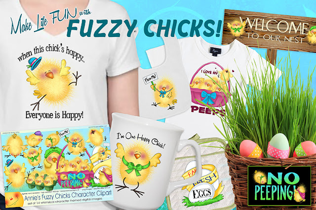 You'll find Annie Lang's happy Fuzzy Chicks clipart characters at Creative Market!