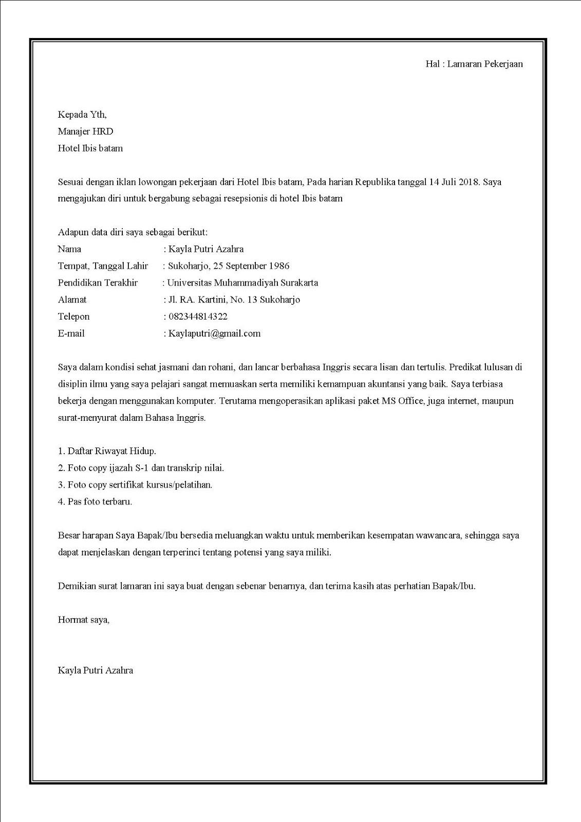 21 Contoh Surat Lamaran Kerja Di Hotel Lengkap Dengan Posisinya Contoh Surat