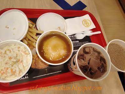 coleslaw, mashed potato, fries, milo ais