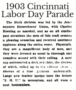 1903 Cincinnati Labor Day Parade Journeyman Horseshoers Union marched