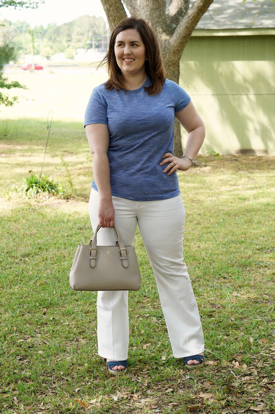 Rebecca Lately Mossimo Essential Crew Neck Ann Taylor White Jeans Navy Espadrille Wedges Kate Spade Cove Provence