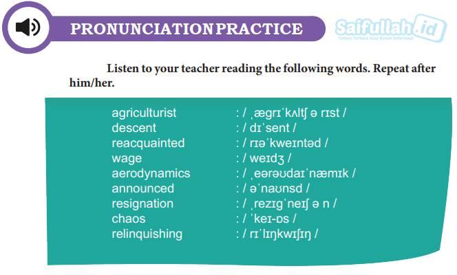 Chapter 10 Halaman 134 Pronunciation Practice: Cara Mengucapkan Kata Bahasa Inggris