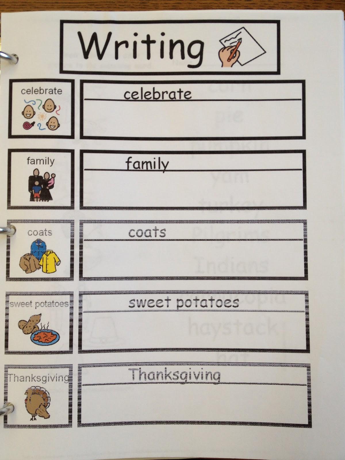 Autism Tank Thanksgiving Worksheets