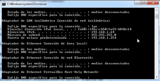 Datos de red obtenidos en la consola de comandos