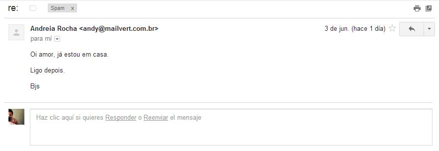 """E-mail: """"Oi amor, já estou em casa / Ligo depois / Bjs"""