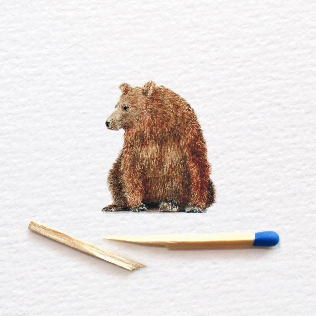 04-Brown-Bear-Frank-Holzenburg-Animals-and-Fantasy-Creatures-Tiny-Paintings-www-designstack-co