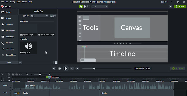 Camtasia window and interface
