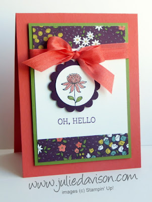 Stampin' Up! Flowering Fields Wildflower Fields Hello Card #stampinup Sale-a-bration #saleabration www.juliedavison.com for Pocket Sketch Challenge 9 #PSC09