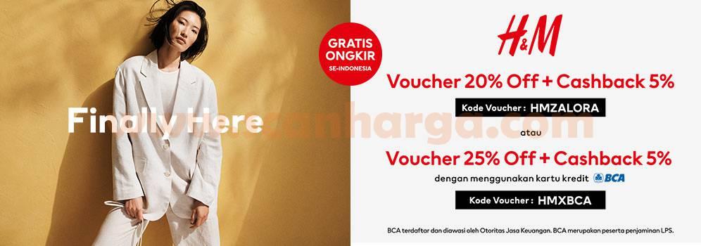 ZALORA Promo H&M GRATIS Voucher + Cashback 5% dengan Kartu Kredit BCA