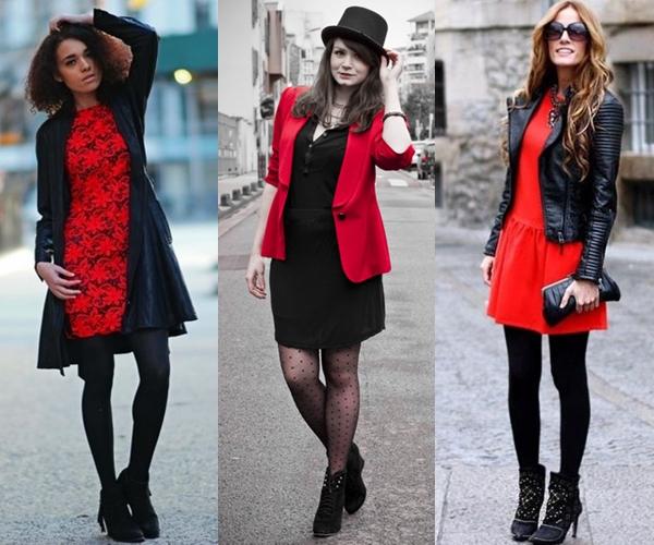 vestido vermelho, meia calça com vestido, vestido vermelho com meias calças, ankle boot, sapatos