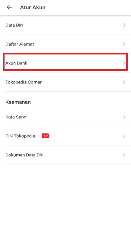 Pengaturan Akun Bank Pada Pengaturan Marketplace Tokopedia di Smartphone.