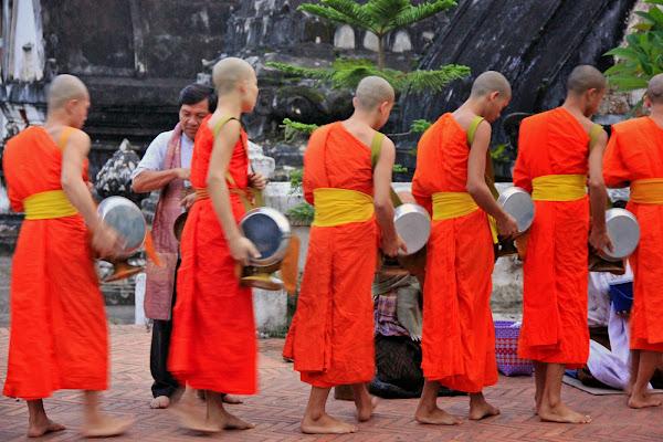 Ceremonia de entrega de limosnas en el templo Wat Mai