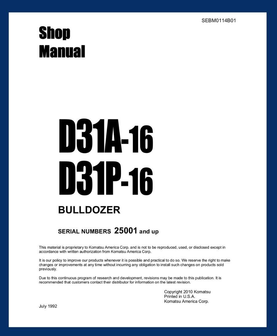 D31P-16 D31A-=16 Shop Manual Komatsu