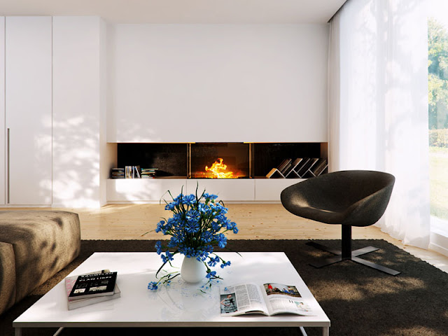 Multifunctional And Modern Living Room Designs With Fireplace