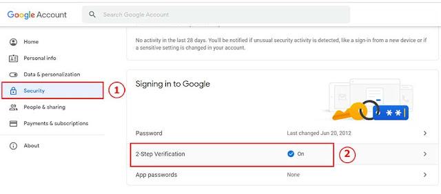 Hình 6 - Cách tắt bảo mật hai bước (2-Step verification) trên Gmail